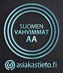 Suomen Vahvimmat AA -sertifikaatti yrityksen luottoluokitus