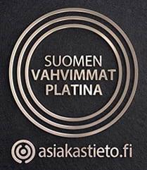 Suomen Vahvimmat Platina -sertifikaatti yrityksen luottoluokitus